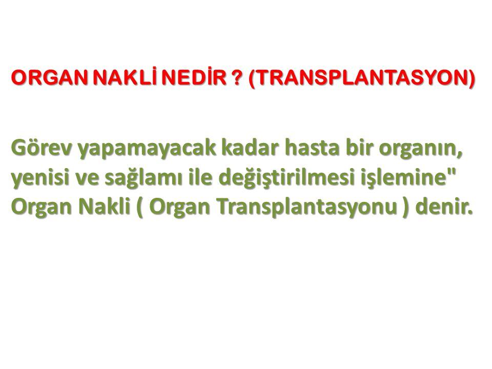 ORGAN NAKL İ NED İ R ? (TRANSPLANTASYON) Görev yapamayacak kadar hasta bir organın, yenisi ve sağlamı ile değiştirilmesi işlemine