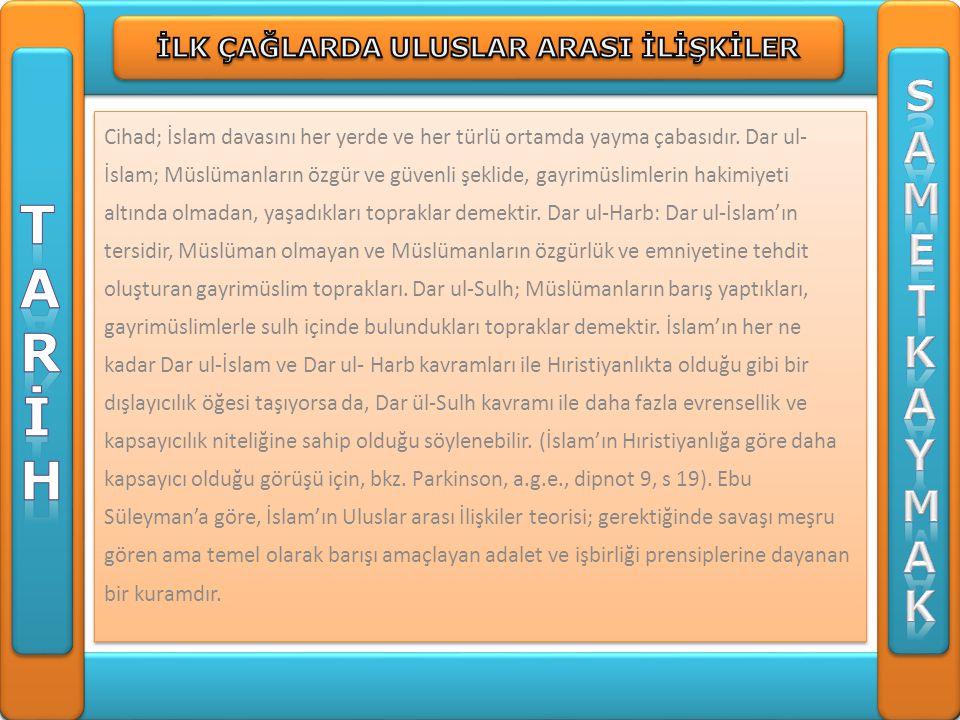 Cihad; İslam davasını her yerde ve her türlü ortamda yayma çabasıdır. Dar ul- İslam; Müslümanların özgür ve güvenli şeklide, gayrimüslimlerin hakimiye