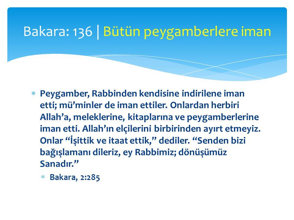  Peygamber, Rabbinden kendisine indirilene iman etti; mü'minler de iman ettiler. Onlardan herbiri Allah'a, meleklerine, kitaplarına ve peygamberlerin