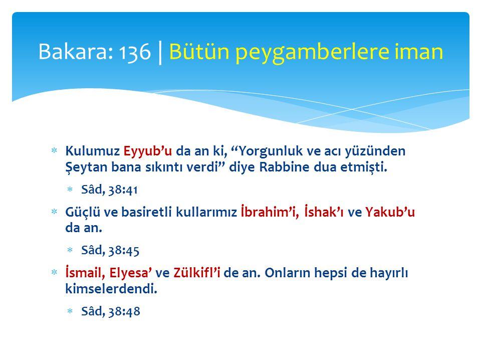 """ Kulumuz Eyyub'u da an ki, """"Yorgunluk ve acı yüzünden Şeytan bana sıkıntı verdi"""" diye Rabbine dua etmişti.  Sâd, 38:41  Güçlü ve basiretli kullarım"""
