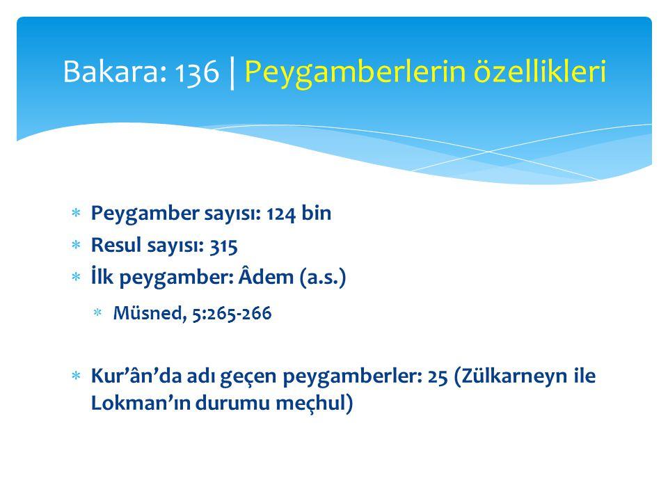  Peygamber sayısı: 124 bin  Resul sayısı: 315  İlk peygamber: Âdem (a.s.)  Müsned, 5:265-266  Kur'ân'da adı geçen peygamberler: 25 (Zülkarneyn il