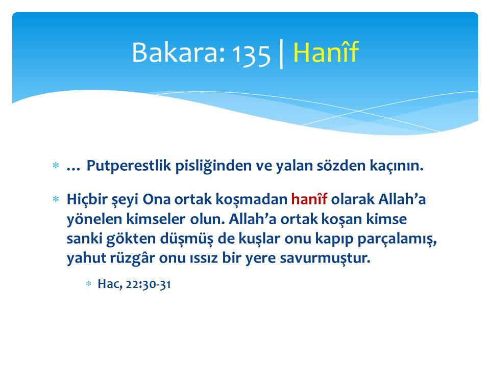  … Putperestlik pisliğinden ve yalan sözden kaçının.  Hiçbir şeyi Ona ortak koşmadan hanîf olarak Allah'a yönelen kimseler olun. Allah'a ortak koşan