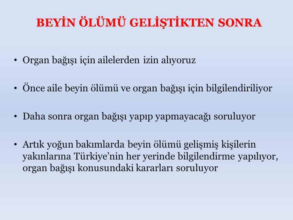 BEYİN ÖLÜMÜ GELİŞTİKTEN SONRA Organ bağışı için ailelerden izin alıyoruz Önce aile beyin ölümü ve organ bağışı için bilgilendiriliyor Daha sonra organ bağışı yapıp yapmayacağı soruluyor Artık yoğun bakımlarda beyin ölümü gelişmiş kişilerin yakınlarına Türkiye'nin her yerinde bilgilendirme yapılıyor, organ bağışı konusundaki kararları soruluyor