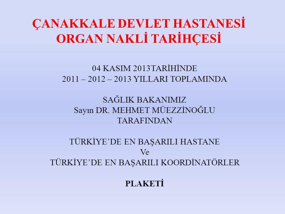 04 KASIM 2013TARİHİNDE 2011 – 2012 – 2013 YILLARI TOPLAMINDA SAĞLIK BAKANIMIZ Sayın DR.