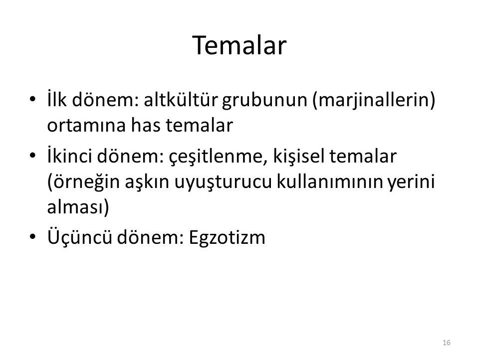 Temalar İlk dönem: altkültür grubunun (marjinallerin) ortamına has temalar İkinci dönem: çeşitlenme, kişisel temalar (örneğin aşkın uyuşturucu kullanı