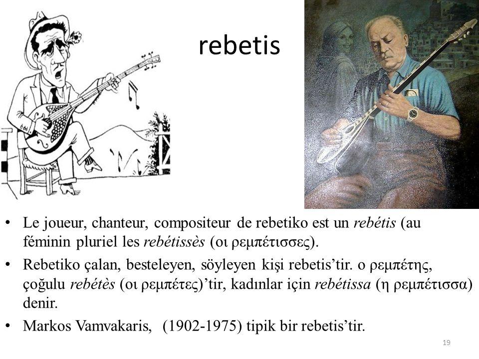 rebetis Le joueur, chanteur, compositeur de rebetiko est un rebétis (au féminin pluriel les rebétissès (οι ρεμπέτισσες). Rebetiko çalan, besteleyen, s