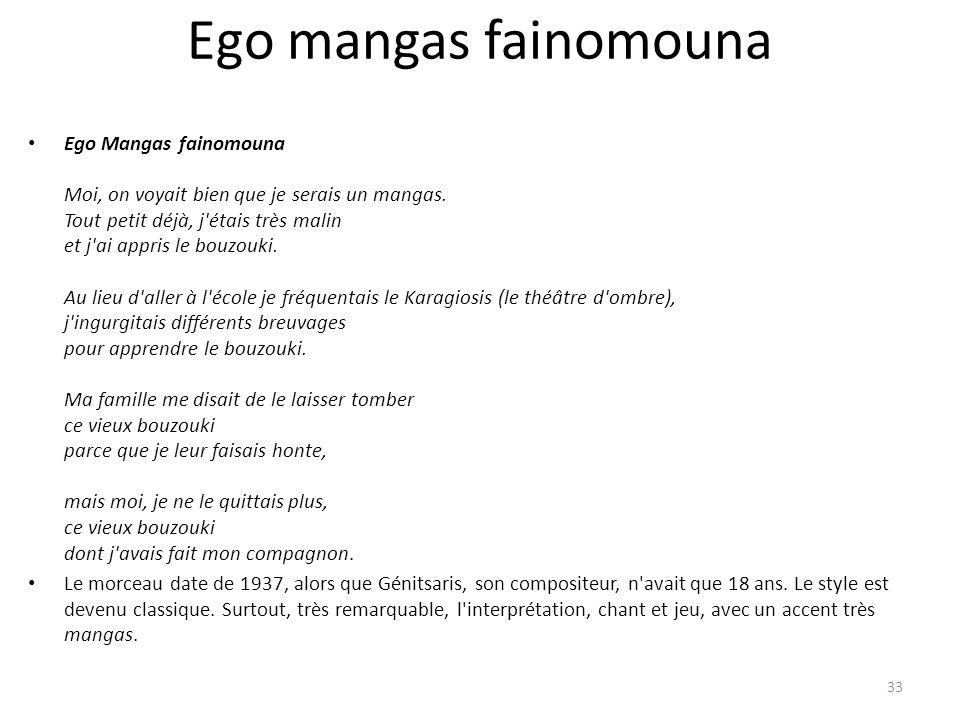 Ego mangas fainomouna Ego Mangas fainomouna Moi, on voyait bien que je serais un mangas. Tout petit déjà, j'étais très malin et j'ai appris le bouzouk