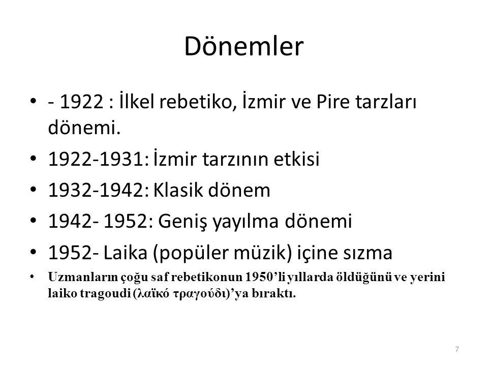 Dönemler - 1922 : İlkel rebetiko, İzmir ve Pire tarzları dönemi. 1922-1931: İzmir tarzının etkisi 1932-1942: Klasik dönem 1942- 1952: Geniş yayılma dö