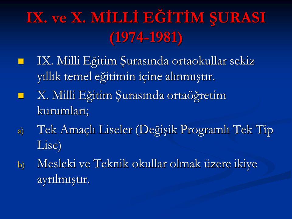 IX. ve X. MİLLİ EĞİTİM ŞURASI (1974-1981) IX. Milli Eğitim Şurasında ortaokullar sekiz yıllık temel eğitimin içine alınmıştır. IX. Milli Eğitim Şurası