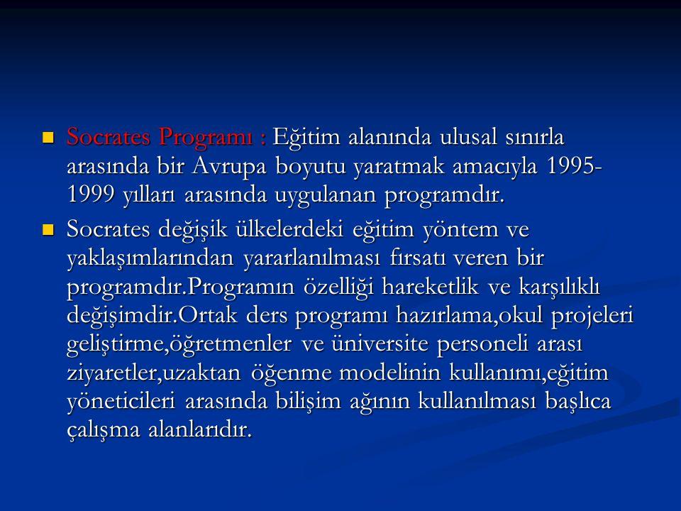 Socrates Programı : Eğitim alanında ulusal sınırla arasında bir Avrupa boyutu yaratmak amacıyla 1995- 1999 yılları arasında uygulanan programdır. Socr