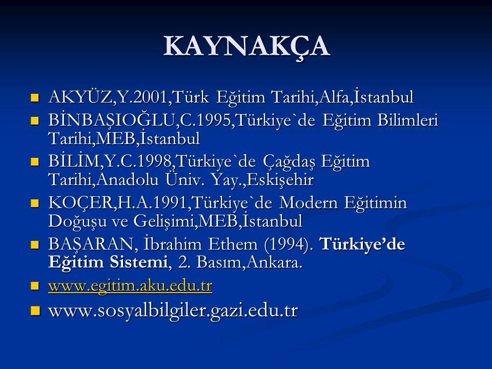 KAYNAKÇA AKYÜZ,Y.2001,Türk Eğitim Tarihi,Alfa,İstanbul AKYÜZ,Y.2001,Türk Eğitim Tarihi,Alfa,İstanbul BİNBAŞIOĞLU,C.1995,Türkiye`de Eğitim Bilimleri Ta