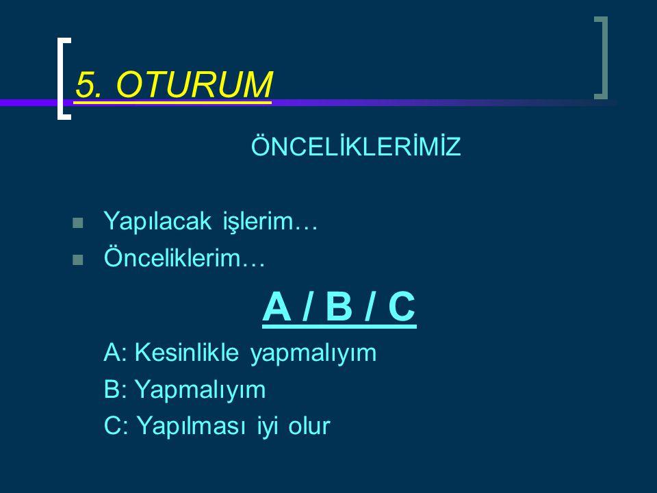 ÖNCELİKLERİMİZ Yapılacak işlerim… Önceliklerim… A / B / C A: Kesinlikle yapmalıyım B: Yapmalıyım C: Yapılması iyi olur 5. OTURUM