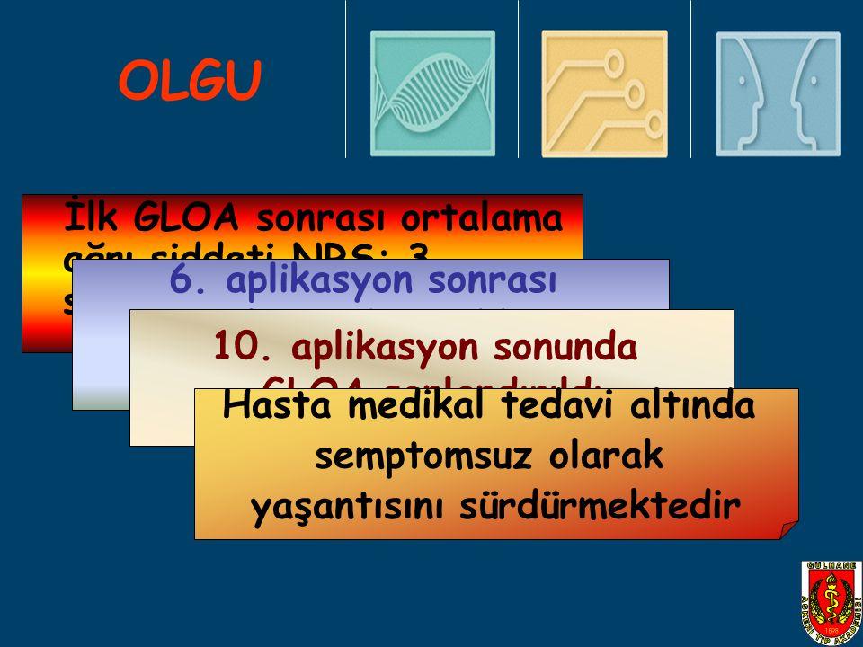 OLGU İlk GLOA sonrası ortalama ağrı şiddeti NRS: 3 seviyesine geriledi 6. aplikasyon sonrası ortalama ağrı şiddeti NRS:0 elde edildi 10. aplikasyon so