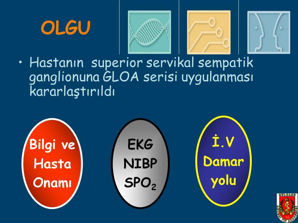 OLGU Hastanın superior servikal sempatik ganglionuna GLOA serisi uygulanması kararlaştırıldı Bilgi ve Hasta Onamı EKG NIBP SPO 2 İ.V Damar yolu