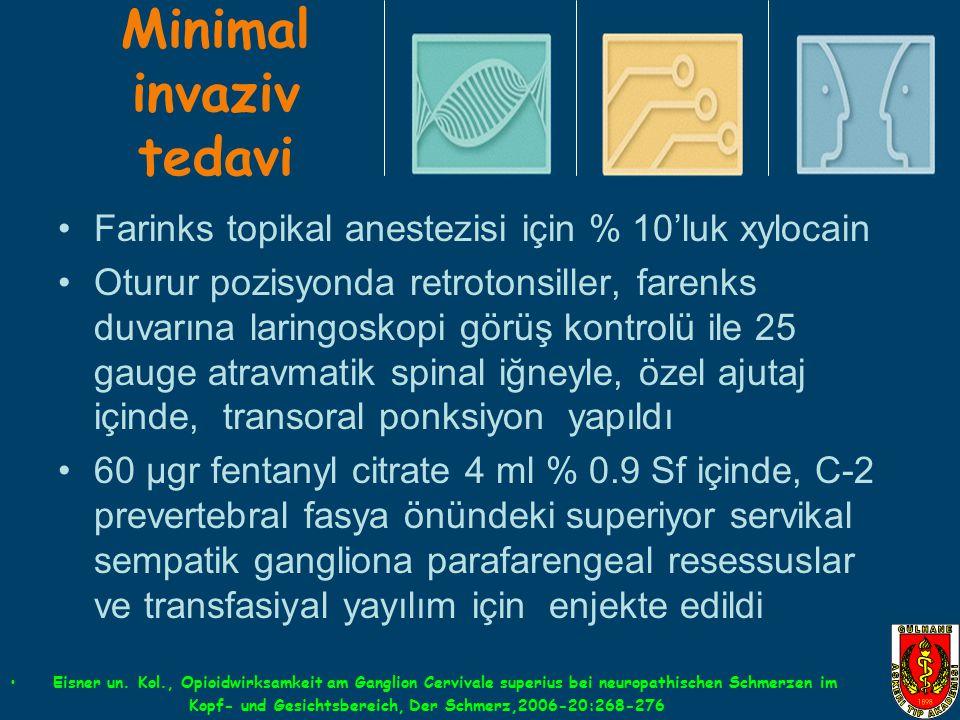 Minimal invaziv tedavi Farinks topikal anestezisi için % 10'luk xylocain Oturur pozisyonda retrotonsiller, farenks duvarına laringoskopi görüş kontrol