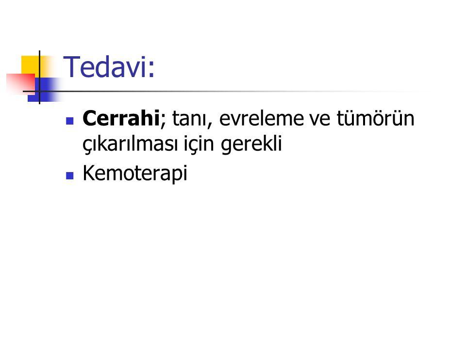 Tedavi: Cerrahi; tanı, evreleme ve tümörün çıkarılması için gerekli Kemoterapi