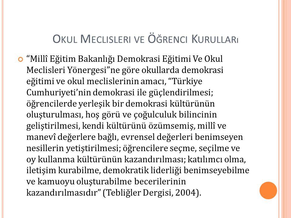 O KUL M ECLISLERI VE Ö ĞRENCI K URULLARı Millî Eğitim Bakanlığı Demokrasi Eğitimi Ve Okul Meclisleri Yönergesi ne göre okullarda demokrasi eğitimi ve okul meclislerinin amacı, Türkiye Cumhuriyeti'nin demokrasi ile güçlendirilmesi; öğrencilerde yerleşik bir demokrasi kültürünün oluşturulması, hoş görü ve çoğulculuk bilincinin geliştirilmesi, kendi kültürünü özümsemiş, millî ve manevî değerlere bağlı, evrensel değerleri benimseyen nesillerin yetiştirilmesi; öğrencilere seçme, seçilme ve oy kullanma kültürünün kazandırılması; katılımcı olma, iletişim kurabilme, demokratik liderliği benimseyebilme ve kamuoyu oluşturabilme becerilerinin kazandırılmasıdır (Tebliğler Dergisi, 2004).