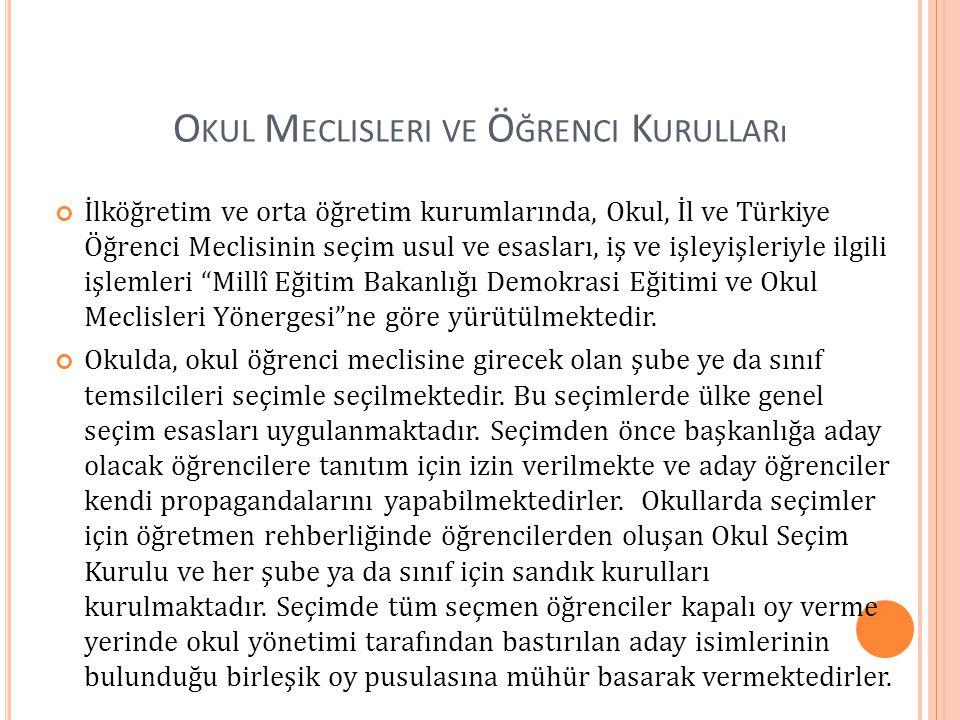 O KUL M ECLISLERI VE Ö ĞRENCI K URULLARı İlköğretim ve orta öğretim kurumlarında, Okul, İl ve Türkiye Öğrenci Meclisinin seçim usul ve esasları, iş ve