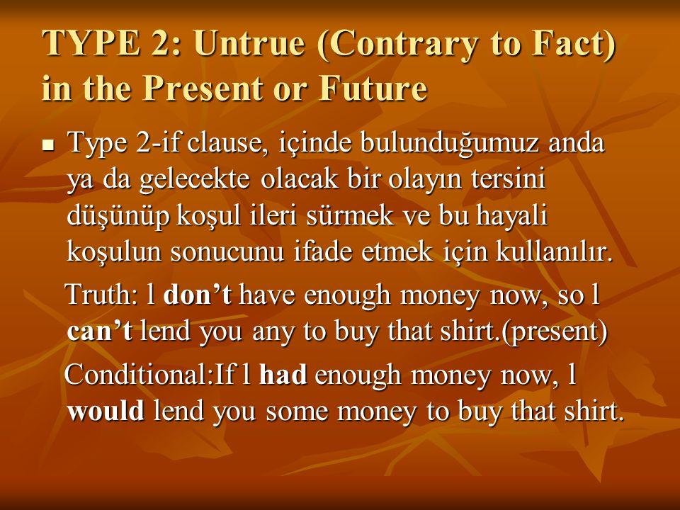 TYPE 2: Untrue (Contrary to Fact) in the Present or Future Type 2-if clause, içinde bulunduğumuz anda ya da gelecekte olacak bir olayın tersini düşünü