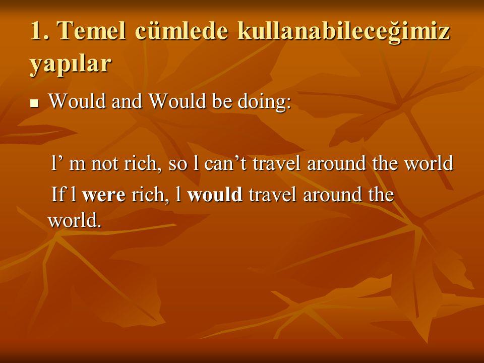 1. Temel cümlede kullanabileceğimiz yapılar Would and Would be doing: Would and Would be doing: l' m not rich, so l can't travel around the world l' m