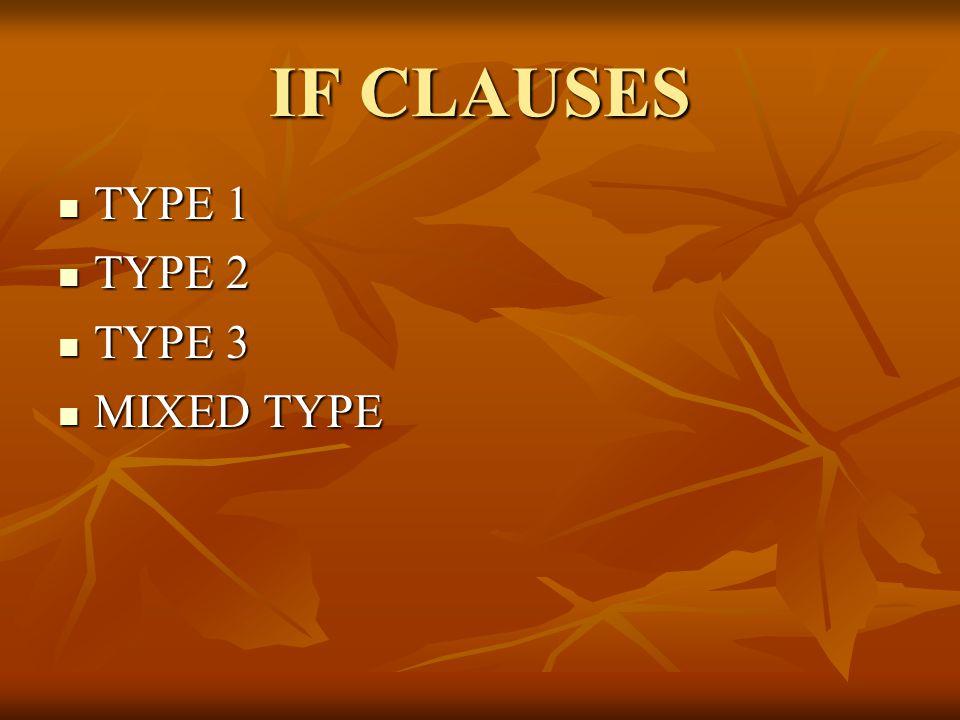 IF CLAUSES TYPE 1 TYPE 1 TYPE 2 TYPE 2 TYPE 3 TYPE 3 MIXED TYPE MIXED TYPE