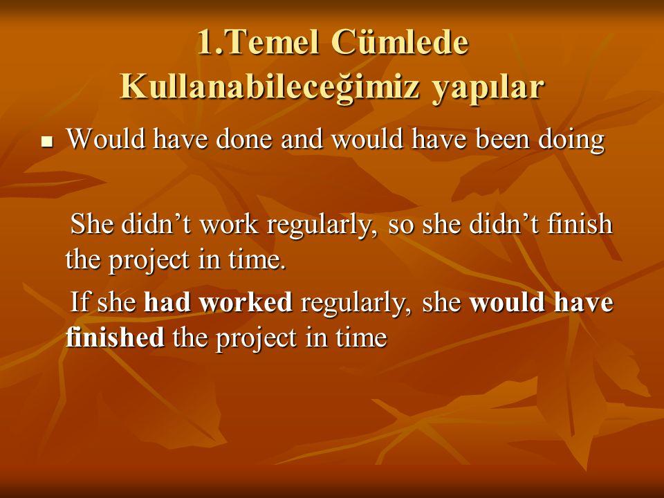 1.Temel Cümlede Kullanabileceğimiz yapılar Would have done and would have been doing Would have done and would have been doing She didn't work regular