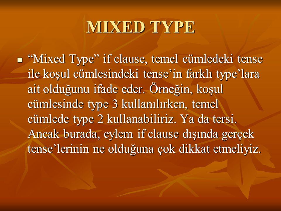 """MIXED TYPE """"Mixed Type"""" if clause, temel cümledeki tense ile koşul cümlesindeki tense'in farklı type'lara ait olduğunu ifade eder. Örneğin, koşul cüml"""