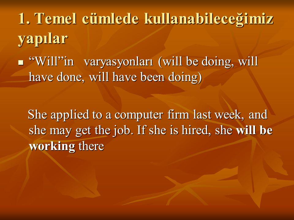 """1. Temel cümlede kullanabileceğimiz yapılar """"Will""""in varyasyonları (will be doing, will have done, will have been doing) """"Will""""in varyasyonları (will"""