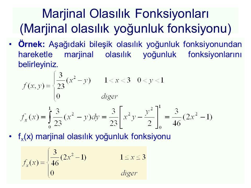 Marjinal Olasılık Fonksiyonları (Marjinal olasılık yoğunluk fonksiyonu) f y (y) marjinal olasılık yoğunluk fonksiyonu