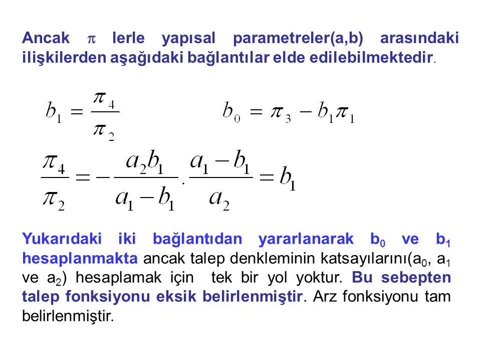 Ancak  lerle yapısal parametreler(a,b) arasındaki ilişkilerden aşağıdaki bağlantılar elde edilebilmektedir. Yukarıdaki iki bağlantıdan yararlanarak