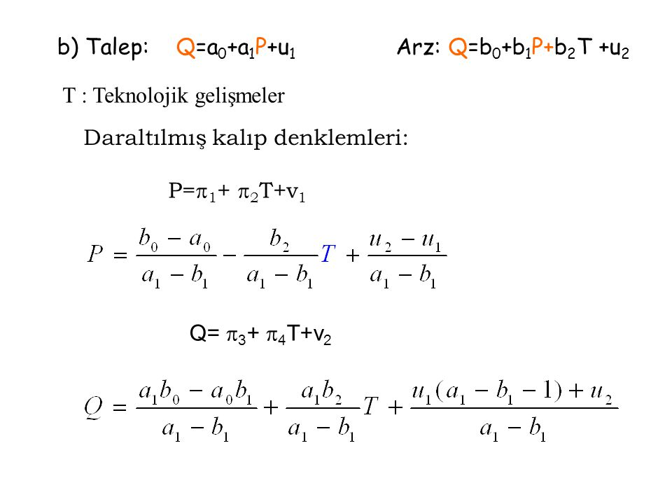 b) Talep: Q=a 0 +a 1 P+u 1 Arz: Q=b 0 +b 1 P+b 2 T +u 2 T : Teknolojik gelişmeler Daraltılmış kalıp denklemleri: P=  1 +  2 T+v 1 Q=  3 +  4 T+v 2