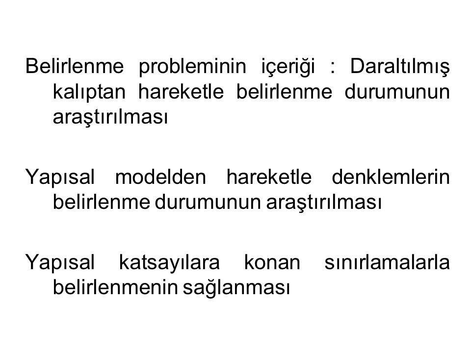 Belirlenme probleminin içeriği : Daraltılmış kalıptan hareketle belirlenme durumunun araştırılması Belirlenme : Bir yapısal modelin katsayıları a, b, c'lerin değerleri daraltılmış kalıbın katsayıları  'lerden tahmin edilebiliyorsa ilgili denklem BELİRLENMİŞTİR.