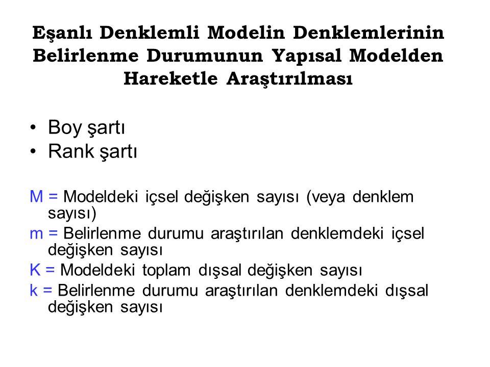Boy şartı Rank şartı M = Modeldeki içsel değişken sayısı (veya denklem sayısı) m = Belirlenme durumu araştırılan denklemdeki içsel değişken sayısı K =