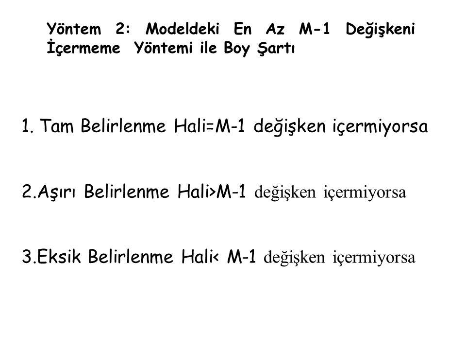 Yöntem 2: Modeldeki En Az M-1 Değişkeni İçermeme Yöntemi ile Boy Şartı 1.Tam Belirlenme Hali=M-1 değişken içermiyorsa 2.Aşırı Belirlenme Hali>M-1 deği