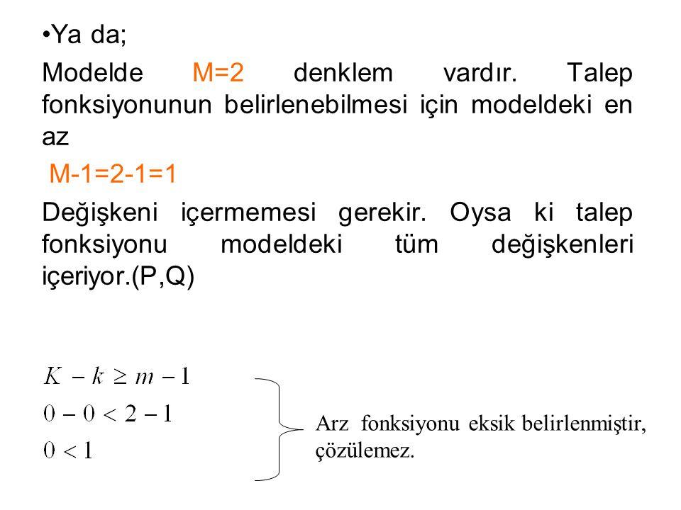Ya da; Modelde M=2 denklem vardır. Talep fonksiyonunun belirlenebilmesi için modeldeki en az M-1=2-1=1 Değişkeni içermemesi gerekir. Oysa ki talep fon