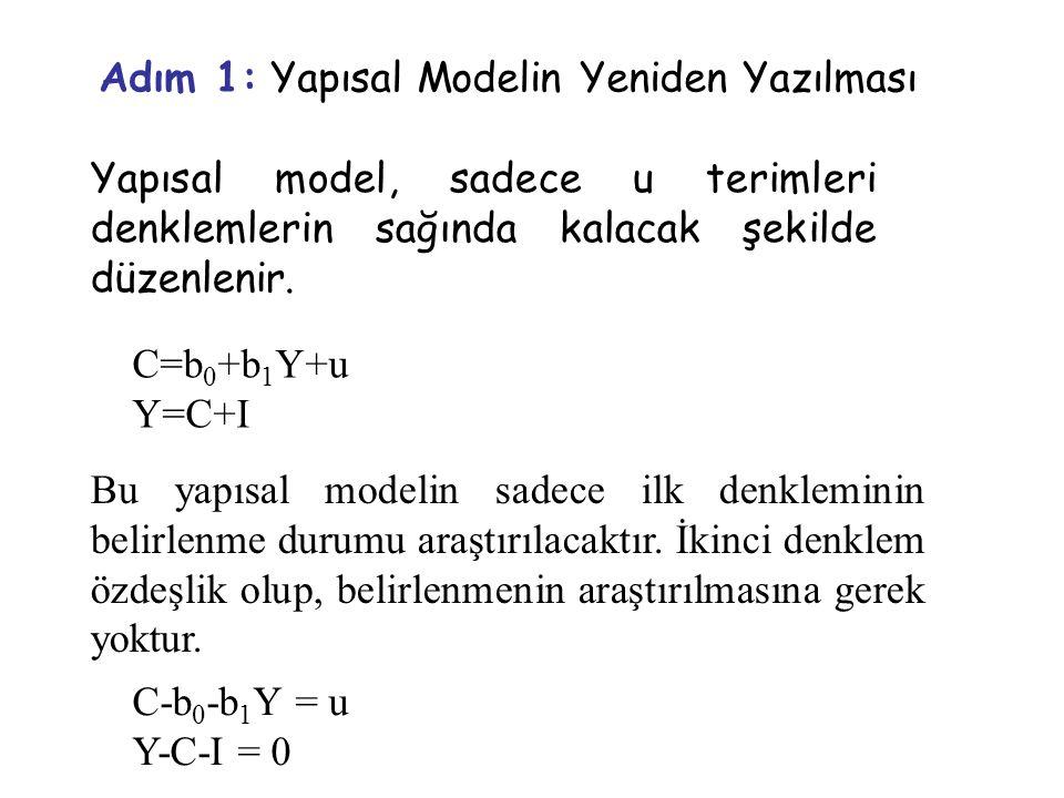 Adım 1: Yapısal Modelin Yeniden Yazılması Yapısal model, sadece u terimleri denklemlerin sağında kalacak şekilde düzenlenir. Bu yapısal modelin sadece
