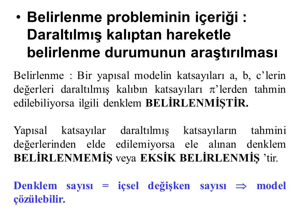 Belirlenme probleminin içeriği : Daraltılmış kalıptan hareketle belirlenme durumunun araştırılması Belirlenme : Bir yapısal modelin katsayıları a, b,