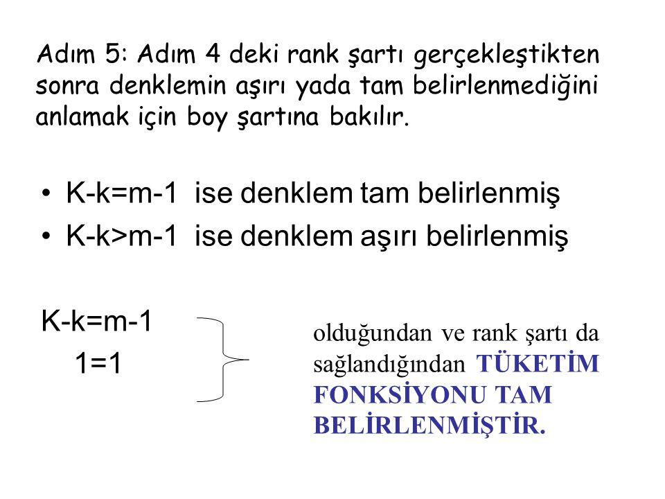 K-k=m-1 ise denklem tam belirlenmiş K-k>m-1 ise denklem aşırı belirlenmiş K-k=m-1 1=1 Adım 5: Adım 4 deki rank şartı gerçekleştikten sonra denklemin a