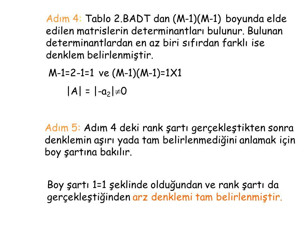 Adım 5: Adım 4 deki rank şartı gerçekleştikten sonra denklemin aşırı yada tam belirlenmediğini anlamak için boy şartına bakılır. M-1=2-1=1 ve (M-1)(M-