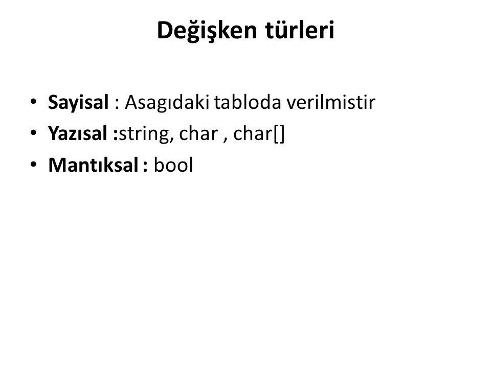 Değişken türleri Sayisal : Asagıdaki tabloda verilmistir Yazısal :string, char, char[] Mantıksal : bool