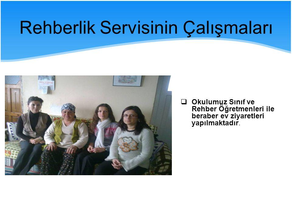 Rehberlik Servisinin Çalışmaları  Okulumuz Sınıf ve Rehber Öğretmenleri ile beraber ev ziyaretleri yapılmaktadır.