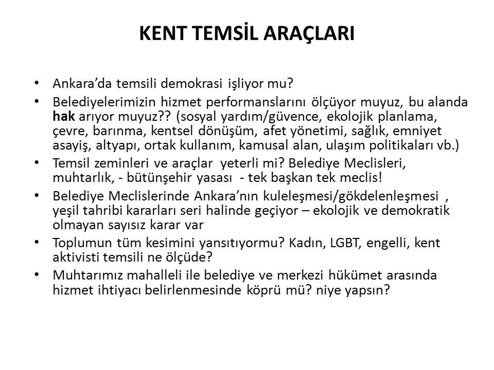 KENT TEMSİL ARAÇLARI Ankara'da temsili demokrasi işliyor mu.