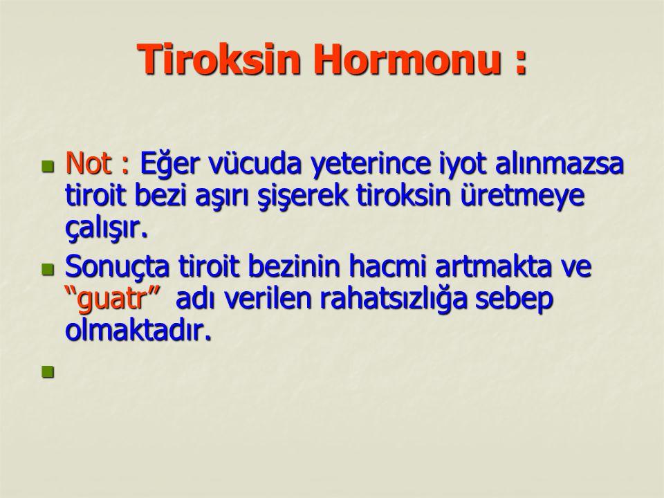 Tiroksin Hormonu : Not : Eğer vücuda yeterince iyot alınmazsa tiroit bezi aşırı şişerek tiroksin üretmeye çalışır. Not : Eğer vücuda yeterince iyot al