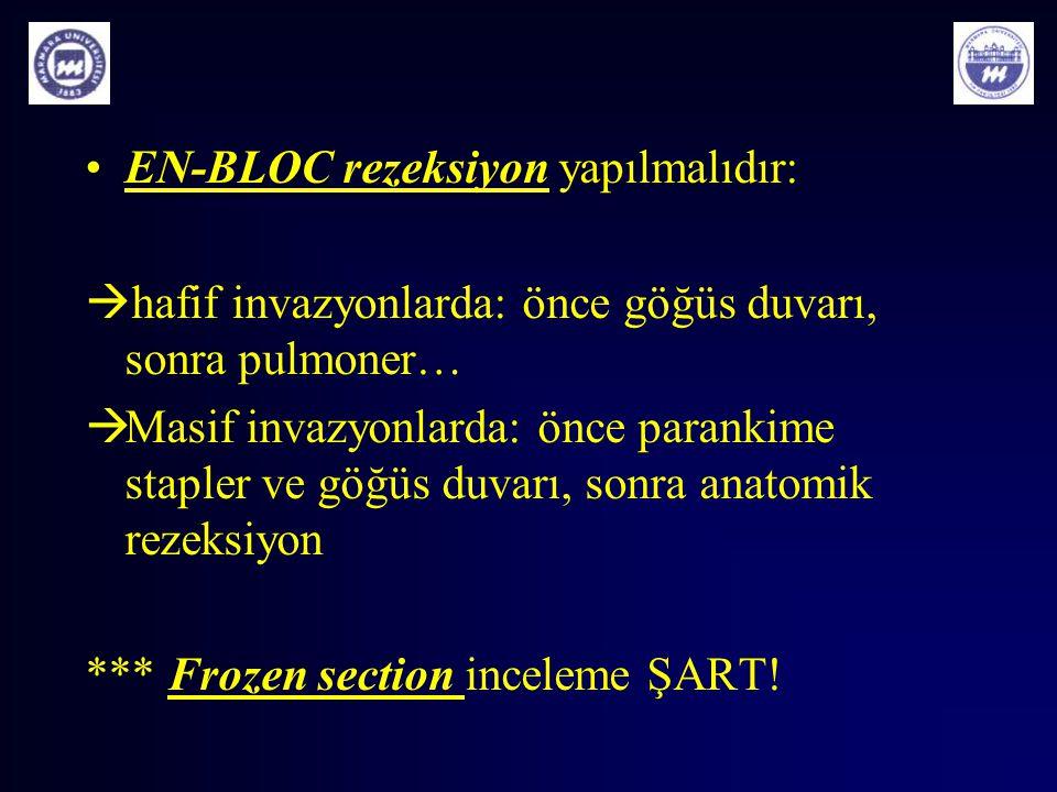 EN-BLOC rezeksiyonEN-BLOC rezeksiyon yapılmalıdır:  hafif invazyonlarda: önce göğüs duvarı, sonra pulmoner…  Masif invazyonlarda: önce parankime sta