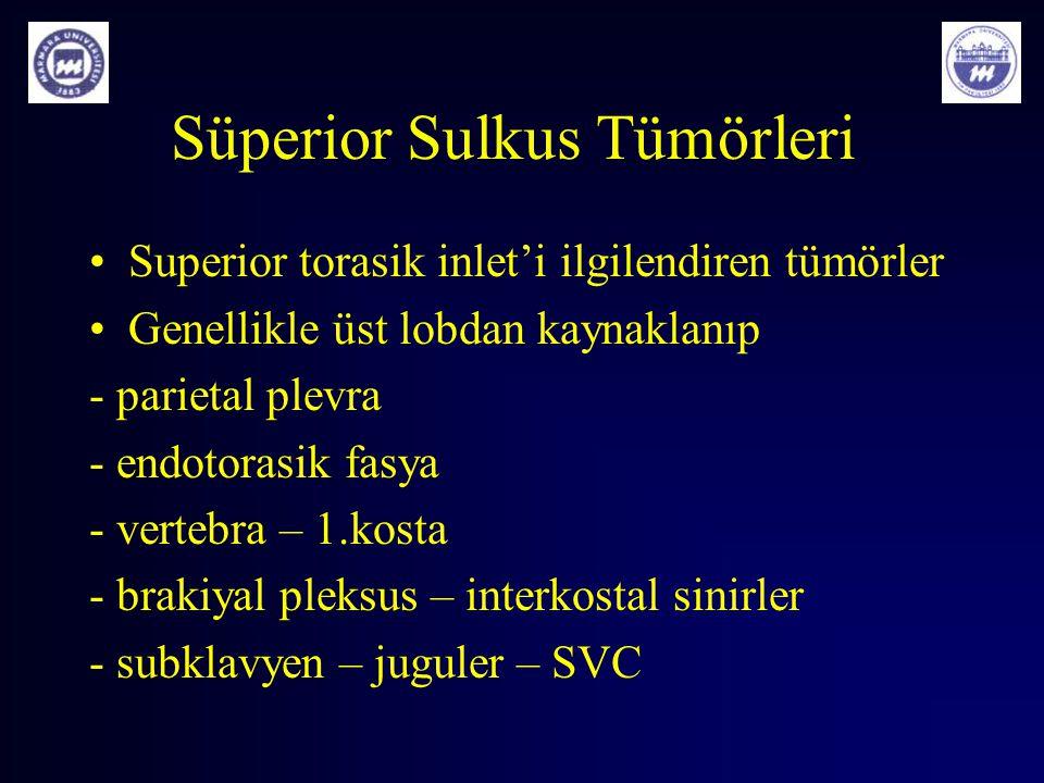 Süperior Sulkus Tümörleri Superior torasik inlet'i ilgilendiren tümörler Genellikle üst lobdan kaynaklanıp - parietal plevra - endotorasik fasya - ver
