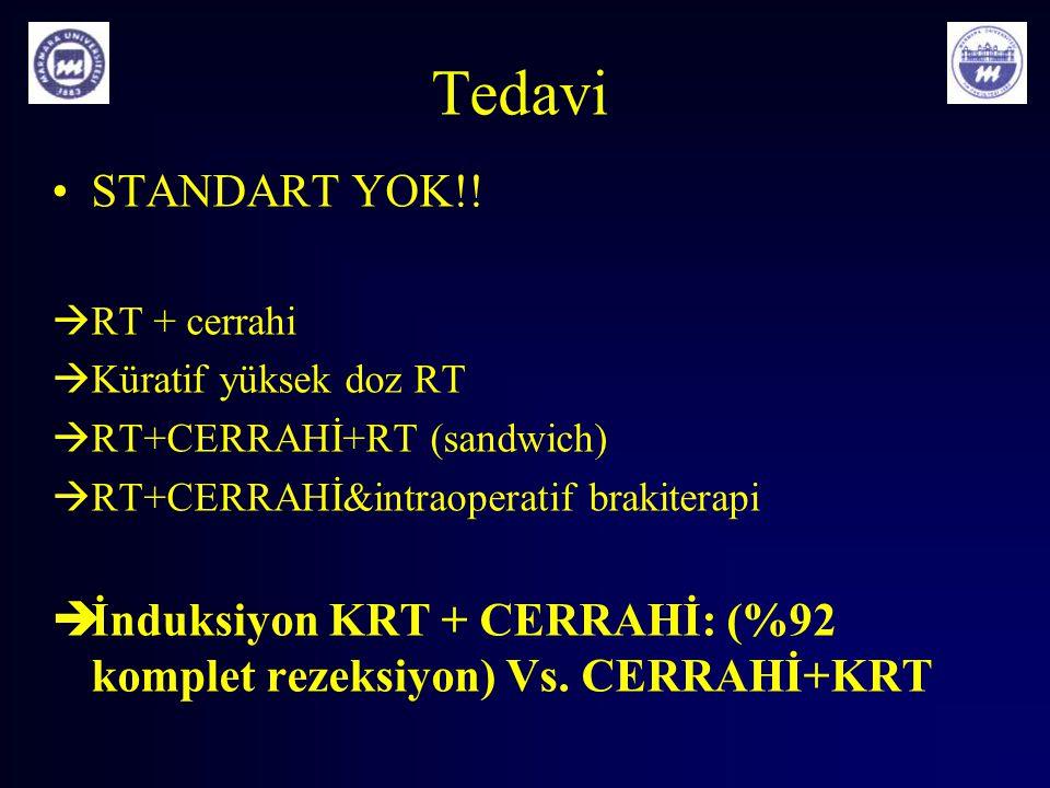 Tedavi STANDART YOK!!  RT + cerrahi  Küratif yüksek doz RT  RT+CERRAHİ+RT (sandwich)  RT+CERRAHİ&intraoperatif brakiterapi  İnduksiyon KRT + CERR