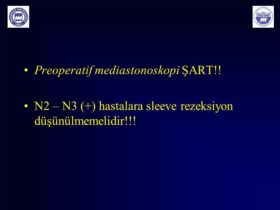 Preoperatif mediastonoskopi ŞART!! N2 – N3 (+) hastalara sleeve rezeksiyon düşünülmemelidir!!!