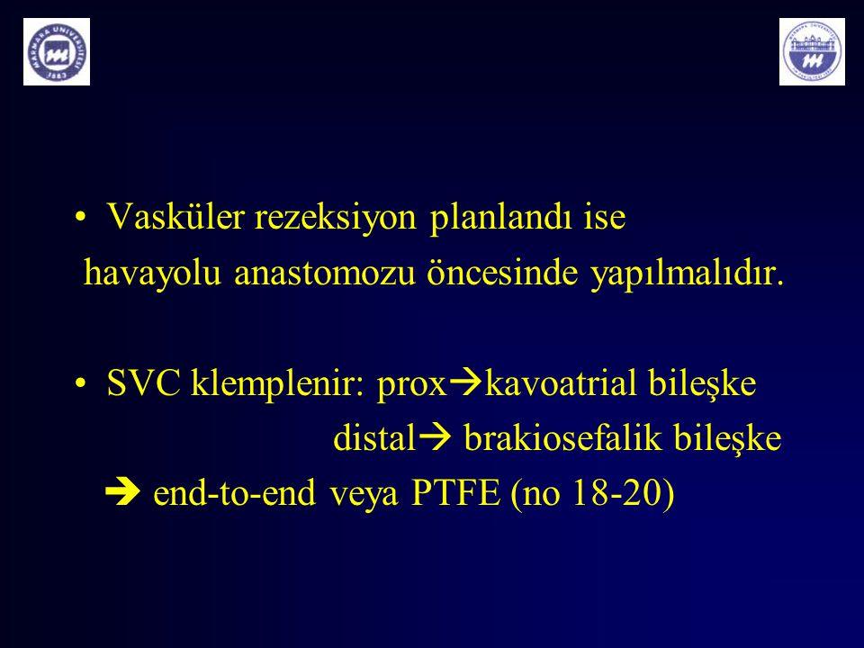 Vasküler rezeksiyon planlandı ise havayolu anastomozu öncesinde yapılmalıdır. SVC klemplenir: prox  kavoatrial bileşke distal  brakiosefalik bileşke