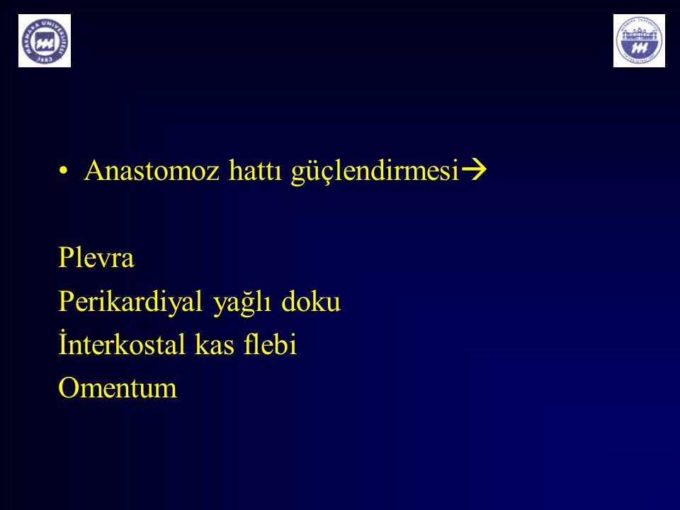 Anastomoz hattı güçlendirmesi  Plevra Perikardiyal yağlı doku İnterkostal kas flebi Omentum
