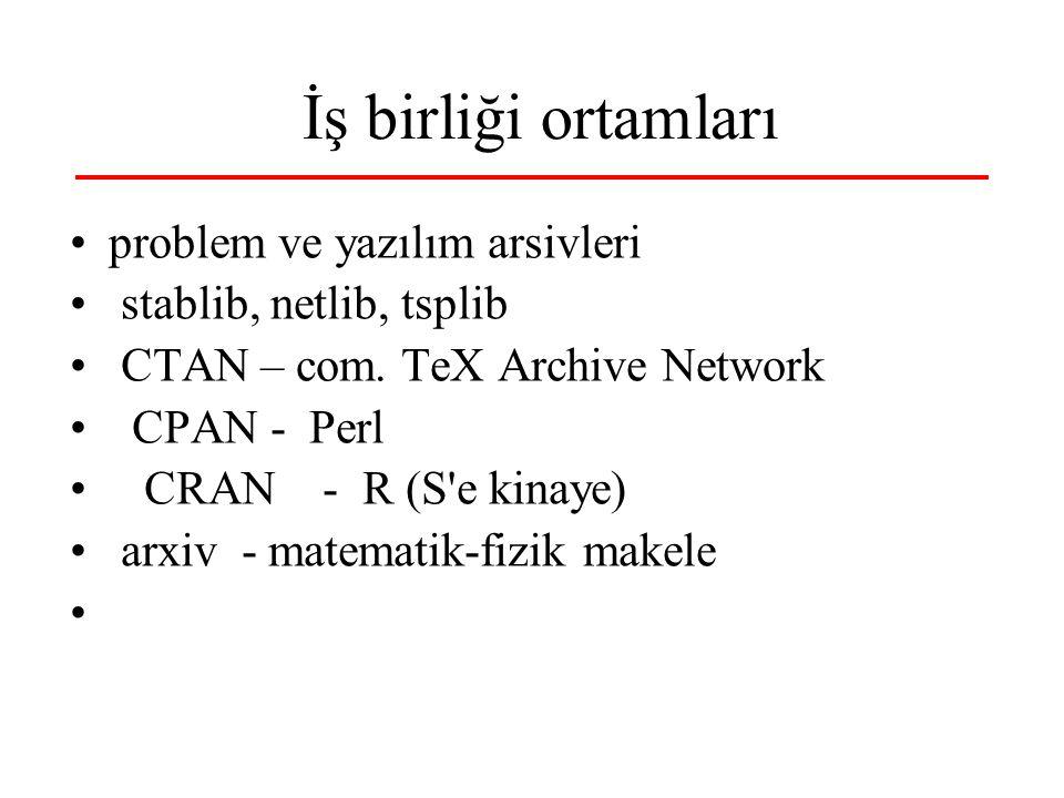 40 İş birliği ortamları problem ve yazılım arsivleri stablib, netlib, tsplib CTAN – com. TeX Archive Network CPAN - Perl CRAN - R (S'e kinaye) arxiv -